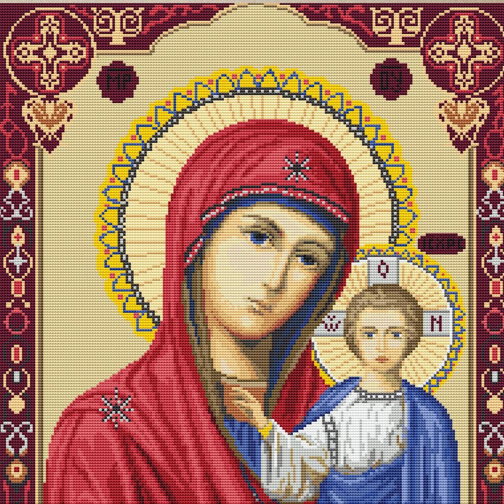 Схема для вышивки крестом иконы казанской божьей матери
