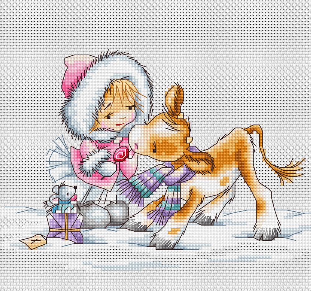 Вышивка лукас девочка с котенком